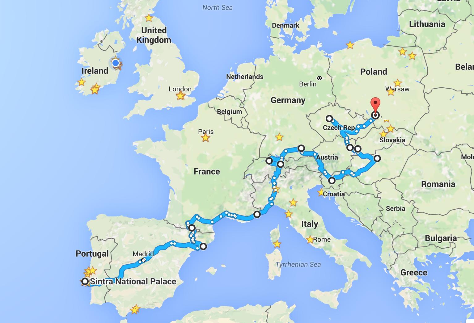 European trip map